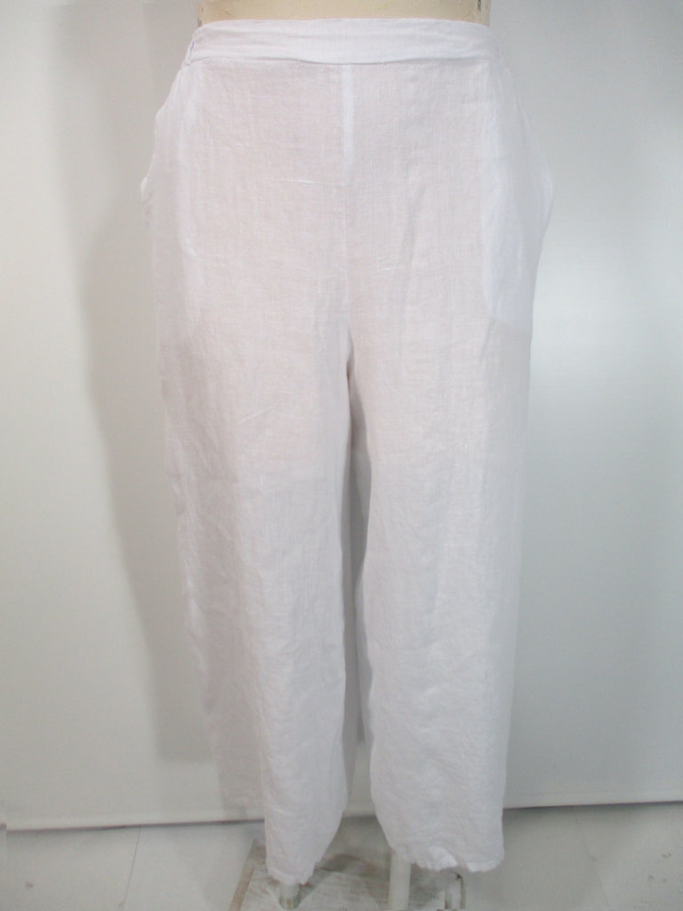 Match Point - White Linen Flat Front 2 Pocket Palazzo Pant - Linnea's Boutique & Vera's Threads