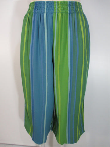 Iguana - Blue/Green/Multi Handpainted Wide Waistband 2 Pocket Crop Palazzo Pant - Linnea's Boutique & Vera's Threads