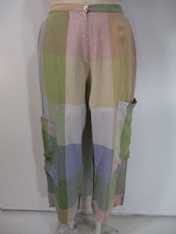 Alembika - Pastel Madras Linen Zipper Front/Elastic Back 4 Pocket Check Wide Leg Pant - Linnea's Boutique & Vera's Threads