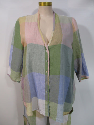 Alembika - Pastel Madras Linen 3/4 Sleeve No Collar V-Neck Shirt - Linnea's Boutique & Vera's Threads