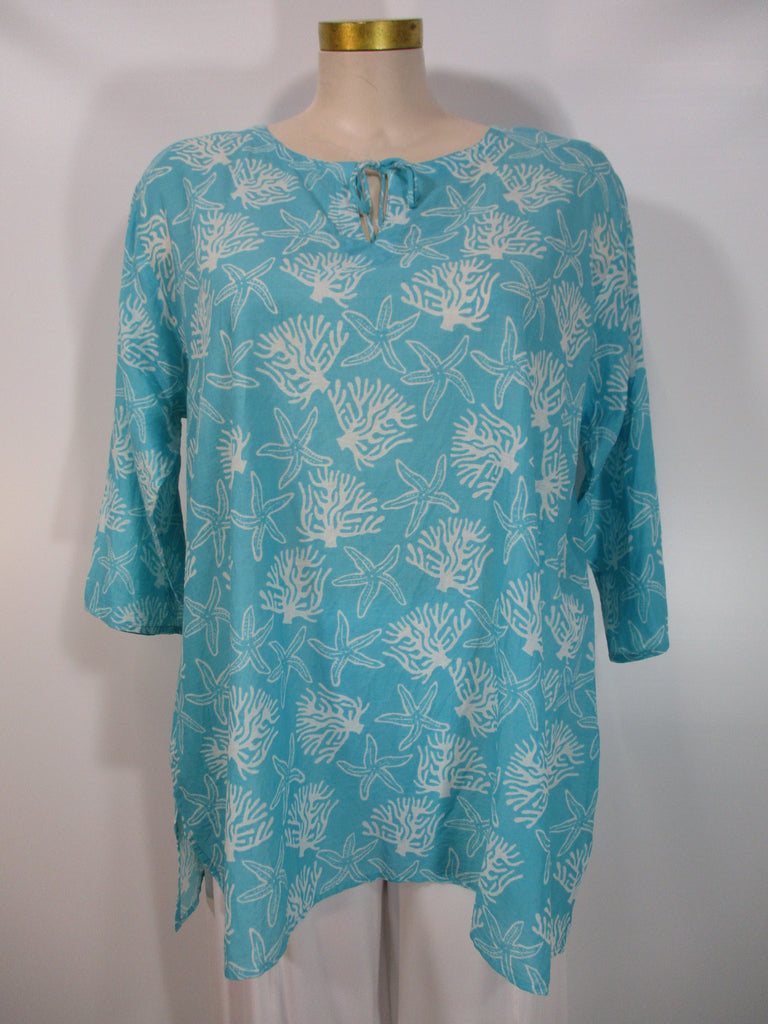 West Indies Wear - Aqua/White 3/4 Sleeve V-Neck Tie Coral Reef Print Tunic - Linnea's Boutique & Vera's Threads
