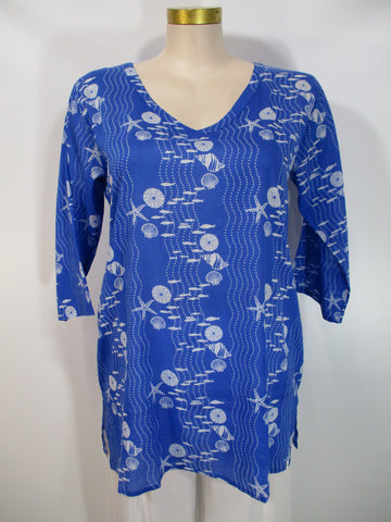 West Indies Wear - Azure/White 3/4 Sleeve V-Neck Coastal Print Tunic - Linnea's Boutique & Vera's Threads