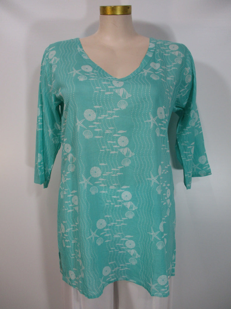 West Indies Wear - Splash/White 3/4 Sleeve V-Neck Coastal Print Tunic - Linnea's Boutique & Vera's Threads