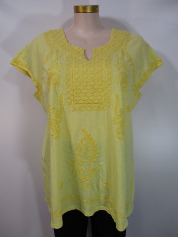 Caite - Sun Cotton Slub Cap Sleeve Knotch Neck Embroidered Aline Tunic - Linnea's Boutique & Vera's Threads