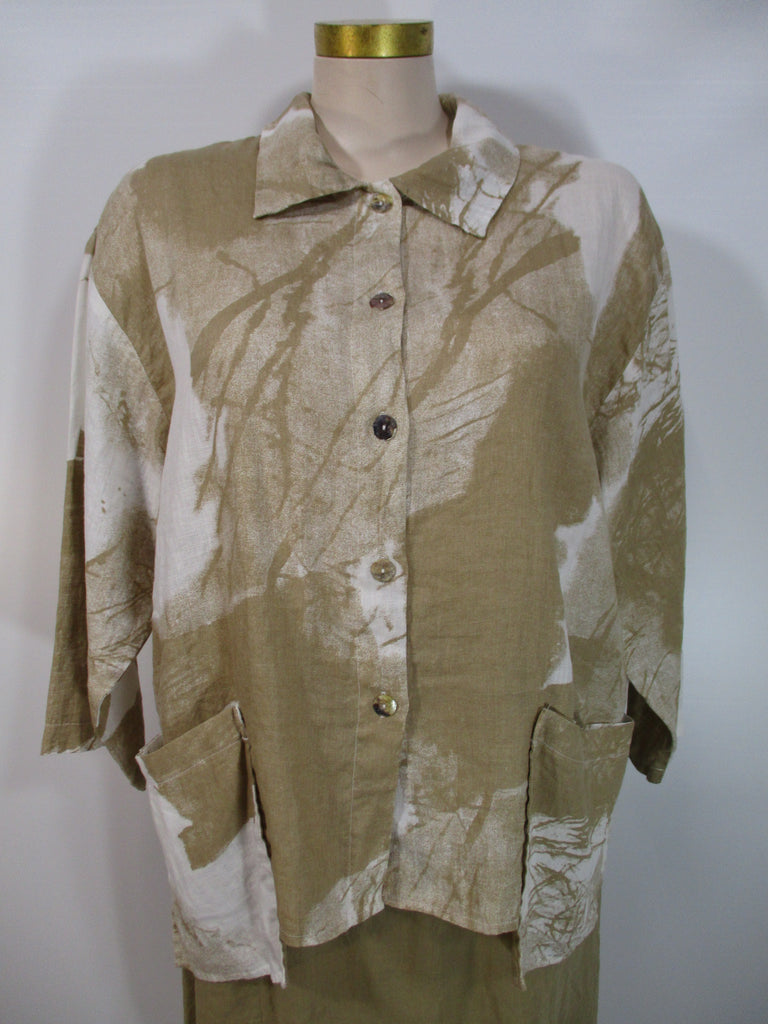 Luukaa - Beige/White Linen 3/4 Sleeve Aria 2 Pocket Print Shirt - Linnea's Boutique & Vera's Threads