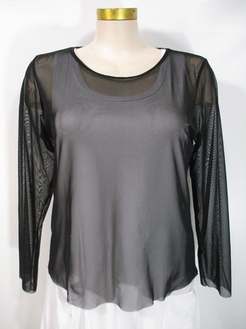 Luukaa - Black Mesh Long Sleeve Basic Top - Linnea's Boutique & Vera's Threads