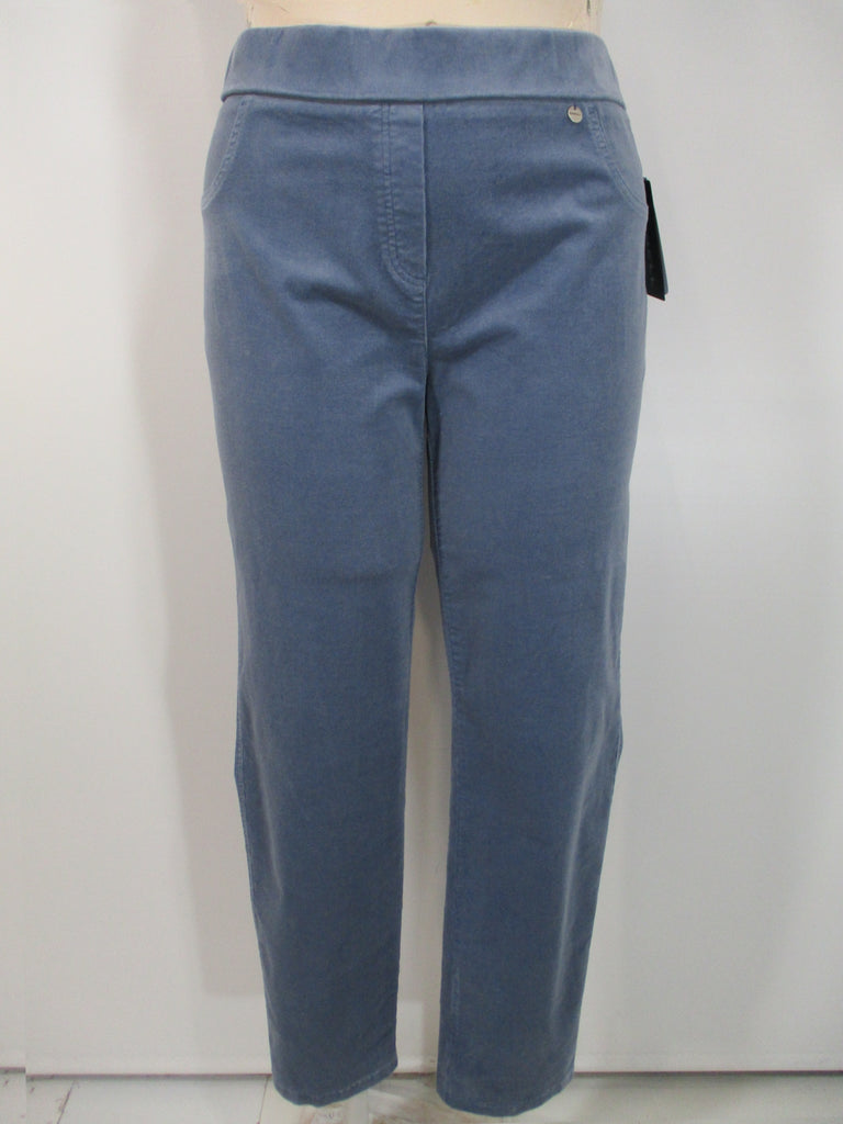 Robell - Blue Grey Faux Zipper/Front Pockets Rose Slim Leg Corduroy 2 Back Pocket Trousers - Linnea's Boutique & Vera's Threads