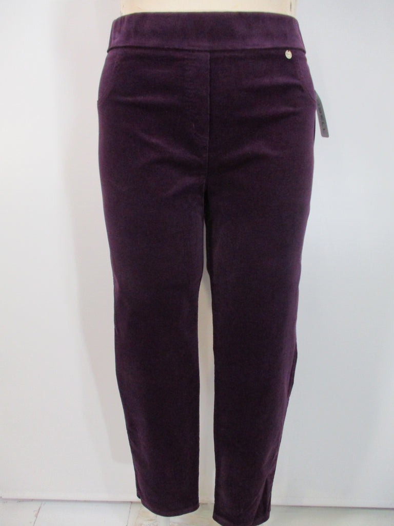 Robell - Purple Faux Zipper/Front Pockets Rose Slim Leg Corduroy 2 Back Pocket Trousers - Linnea's Boutique & Vera's Threads