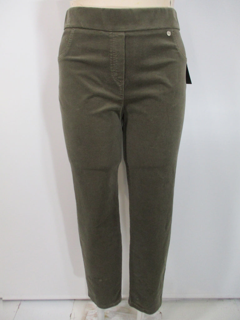 Robell - Taupe Faux Zipper/Front Pockets Rose Slim Leg Corduroy 2 Back Pocket Trousers - Linnea's Boutique & Vera's Threads