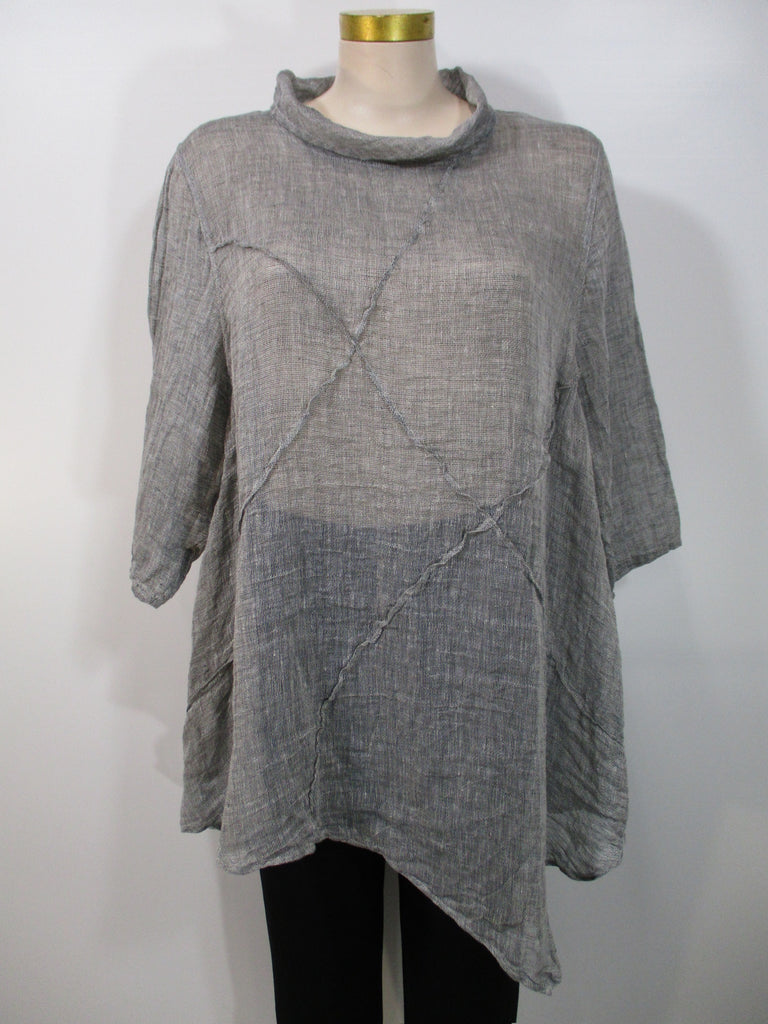 Cheyenne - Grey Linen Mesh 3/4 Sleeve Cowl Neck Seamed Tunic - Linnea's Boutique & Vera's Threads