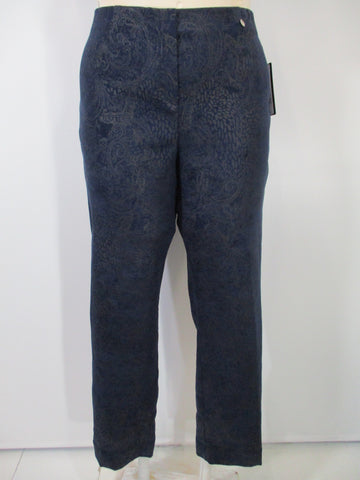 Robell - Navy Faux Zipper Suede Paisley Slim Long Pant - Linnea's Boutique & Vera's Threads