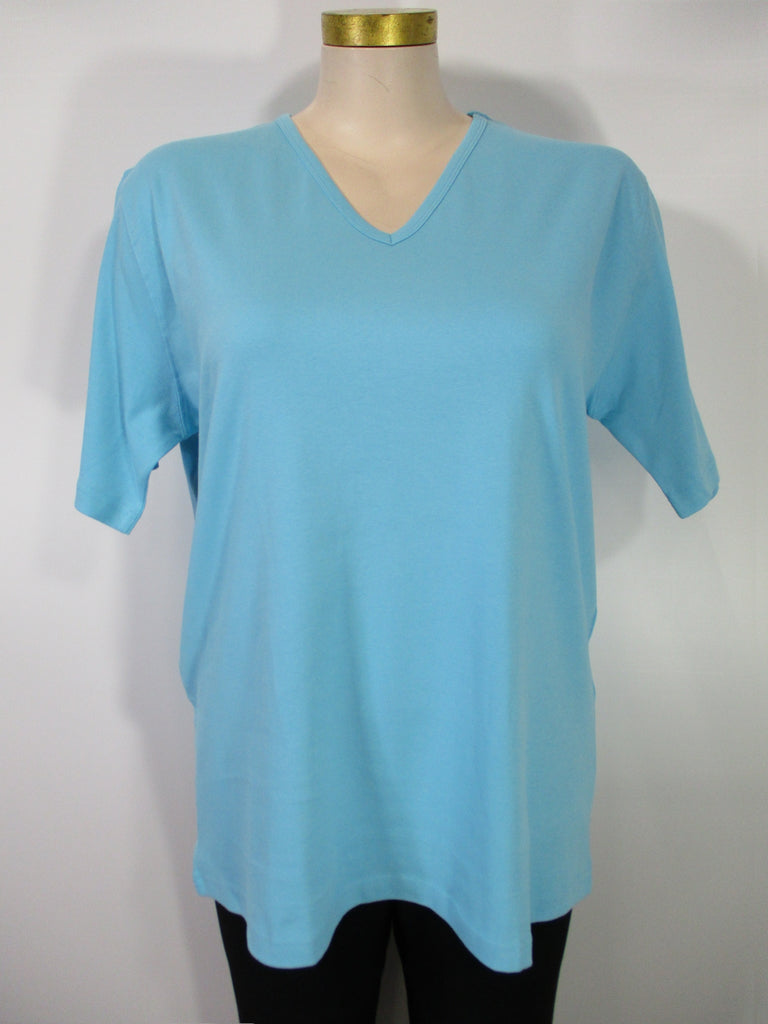 Bleu Bayou - Aqua Short Sleeve V-Neck Combed Cotton Tee - Linnea's Boutique & Vera's Threads