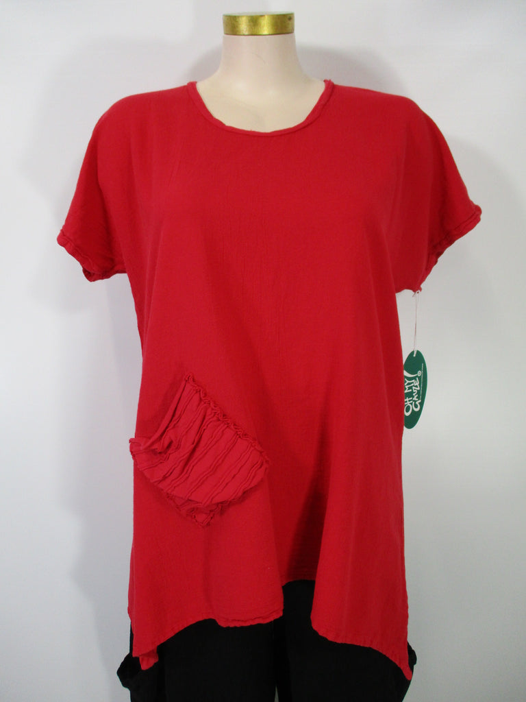 Oh My Gauze - Crimson Short Sleeve Faith 1 Pocket Tunic - Linnea's Boutique & Vera's Threads
