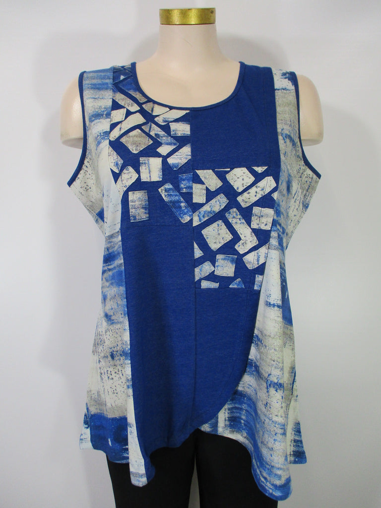 Parsley and Sage - Blue/White/Grey Sleeveless Kinsley Mix Media HiLo Tuni/Dress - Linnea's Boutique & Vera's Threads