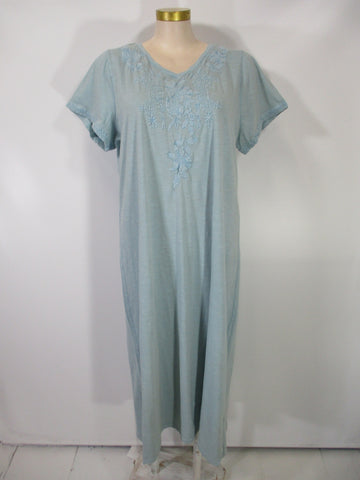 Caite - Alaskan Blue Cotton Slub Short Sleeve V-Neck Shea Embroidered Maxi Dress - Linnea's Boutique & Vera's Threads