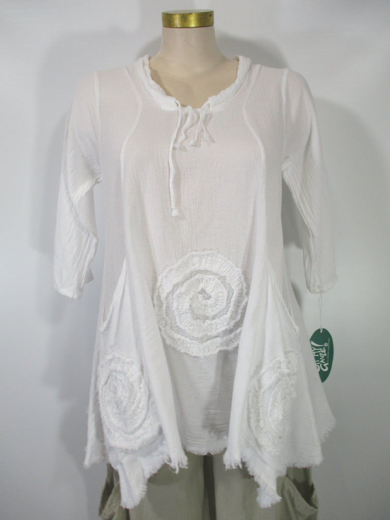 Oh My Gauze - Snow 3/4 Sleeve Circle 2 Pocket Tunic - Linnea's Boutique & Vera's Threads