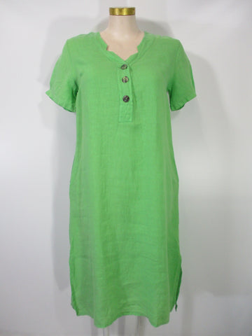 Transparente - Green Linen Short Sleeve V-Neck 2 Pocket Mid Calf Dress - Linnea's Boutique & Vera's Threads
