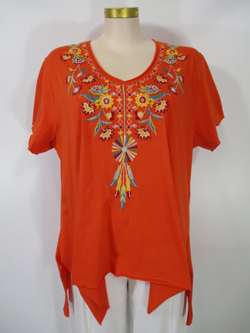 Caite - Orange/Multi Short Sleeve V-Neck Esvi Embroidered Aline HiLo Tunic - Linnea's Boutique & Vera's Threads
