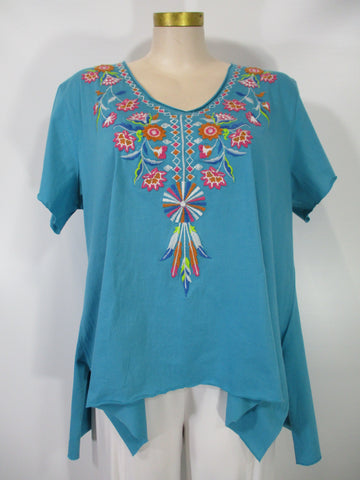 Caite - Turquoise/Multi Short Sleeve V-Neck Esvi Embroidered Aline HiLo Tunic - Linnea's Boutique & Vera's Threads