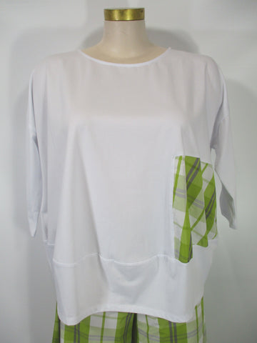 Alembika - White/Blonde Cotton Drop Shoulder 3/4 Sleeve Tee - Linnea's Boutique & Vera's Threads