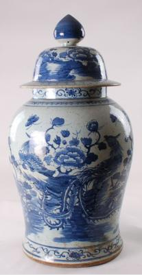 Blue & White Ginger Jar Bird Flower Design
