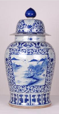 Blue & White Large Canton Jar Waterside Scene