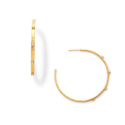Crescent Stone Hoop | Pearl