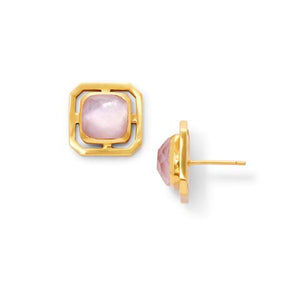 Geneva Stud Earring | Rose Quartz
