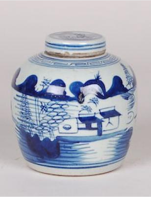 Blue & White Canton Jar