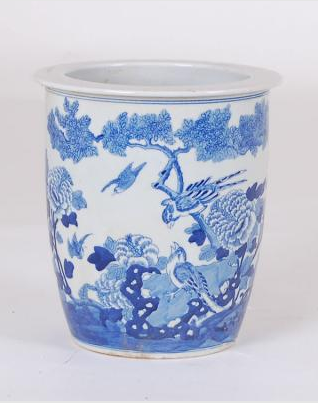 Blue & White Bird Flower Pot