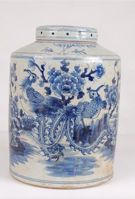 Blue & White Tea Tin Jar Bird Flower Design