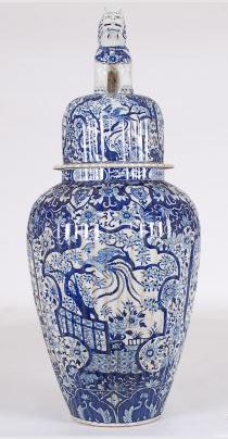 Blue & White Large Ginger Jar with Foo Dog