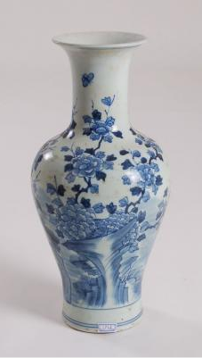 Blue & White Bird Flower Design Vase