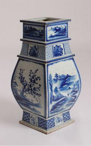 Blue & White Large Square Vase