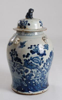 BLUE & WHITE BIRD AND FLOWER GINGER JAR
