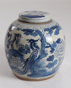 Blue & White Phoenix Ginger Jar