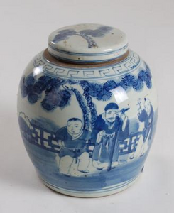 Blue & White Painted Figures Jar