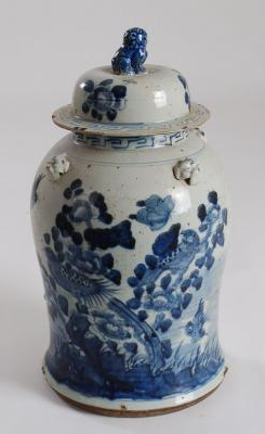 Blue & White Bird Flower Jar