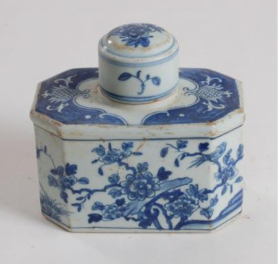 Blue & White Hexagon Small Tea Tin Jar