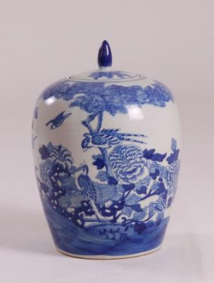 Blue & White Jar Bird Outdoor Scene