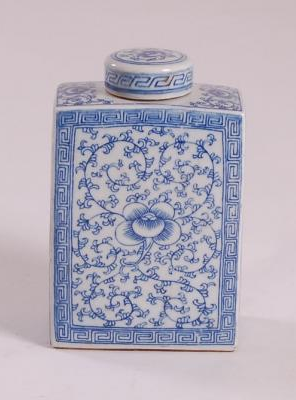 Blue & White Square Tea Tin Small Floral