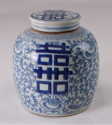 Blue & White Double Happiness Jar Medium