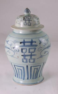 Blue & White Ming Double Happiness Jar