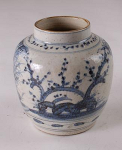BLUE & WHITE BIRD AND FLOWER VASE
