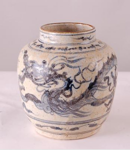 Blue & White Dragon Jar Small