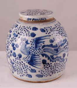Blue & White Phoenix Jar