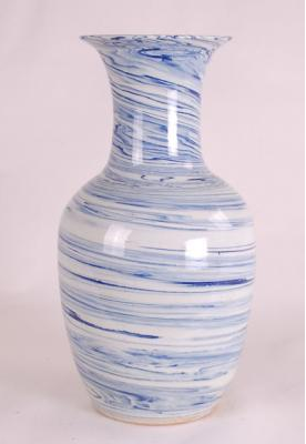 Blue & White Swirl Design Vase