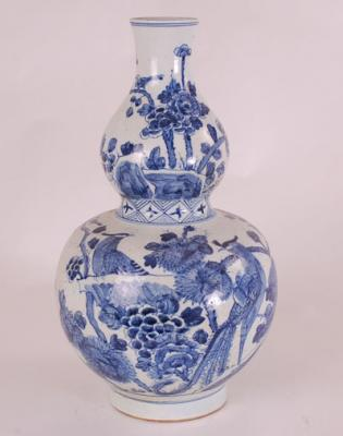 Blue & White Decorative Gourd Vase