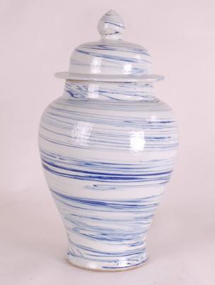 Blue & White Medium Swirl Design Jar