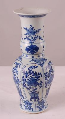Blue & White Plants Beaker Vase